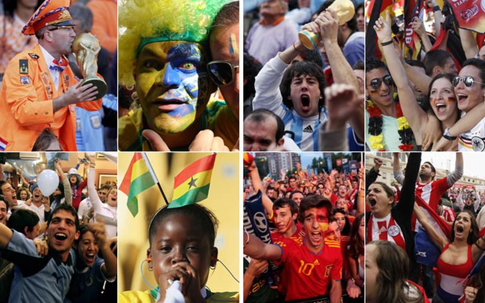 Torcedores na Holanda, Brasil, Uruguai, Gana, Argentina, Alemanha, Espanha e Paraguai em Copas do Mundo (Foto: Arquivo/Reuters)