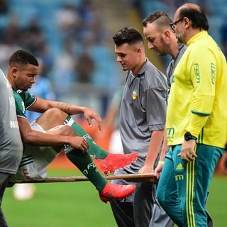 Gabriel Jesus sai de maca; Grêmio x Palmeiras (Foto: Futura Press)