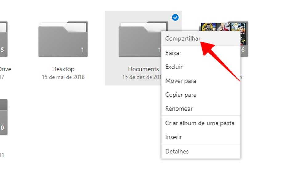 Compartilhe um arquivo ou pasta do OneDrive — Foto: Reprodução/Paulo Alves