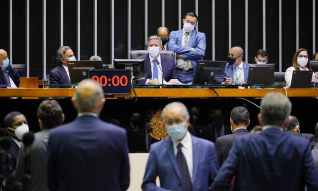 O presidente da Câmara, Arthur Lira, durante sessão que aprovou mudanças na lei de improbidade