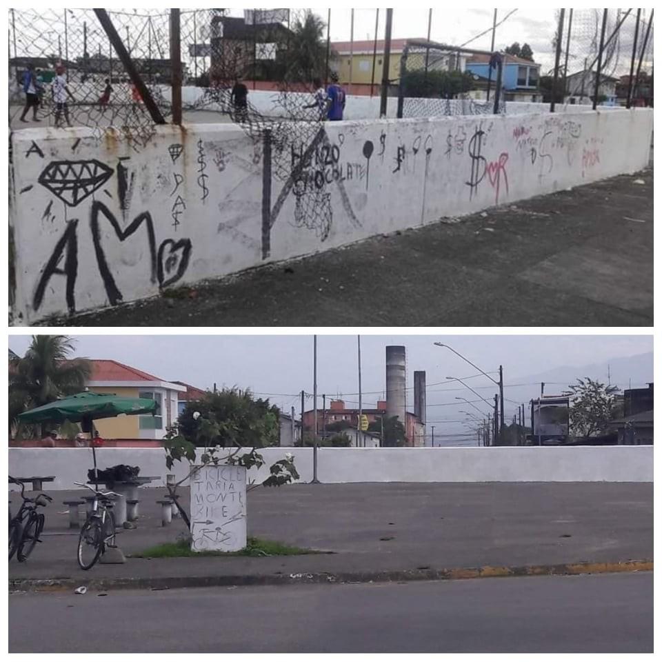 Moradores tiram dinheiro do próprio bolso para pintar praça abandonada em São Vicente - Notícias - Plantão Diário
