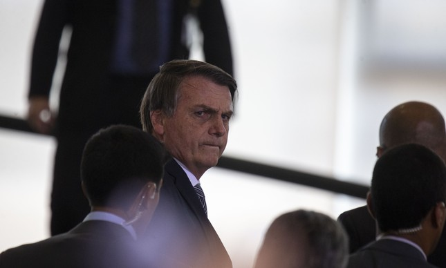 O presidente Jair Bolsonaro na rampa interna do Planalto