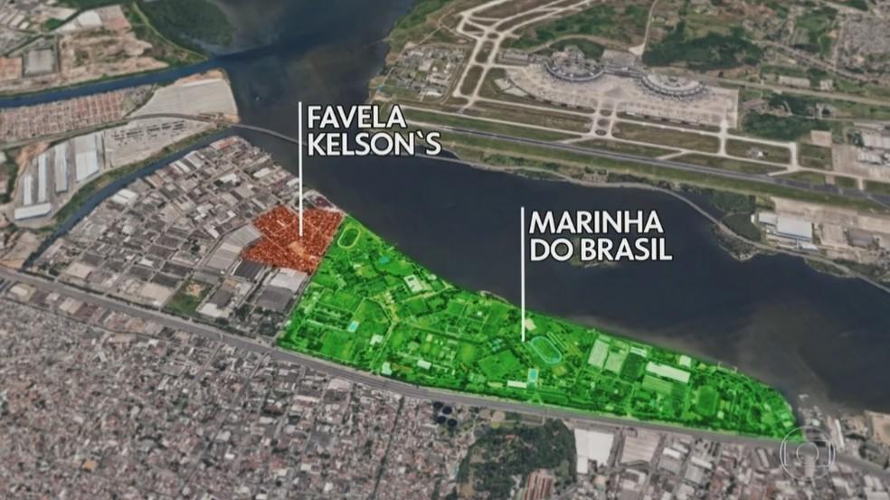 Mapa mostra localização da favela da Kelson's, vizinha o centro de formação da Marinha (Foto: Reprodução/TV Globo)