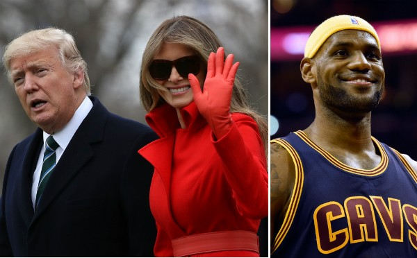 Donald Trump, Melania Trump e LeBron James (Foto: Getty Images)