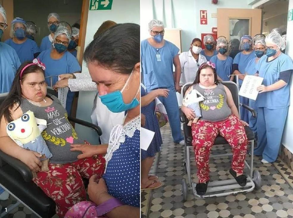 Jovem com Síndrome de Down de Taquarivaí se recuperou da Covid no ano passado — Foto: Arquivo pessoal/Maria Angélica Santos Oliveira