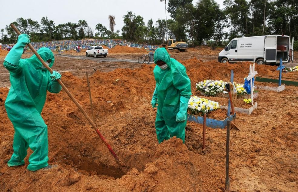 Covas para vítimas de Covid-19 — Foto: Michael Dantas/AFP