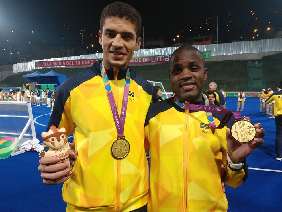 Cássio e Jefinho, autores dos gols do Brasil na final do Parapan contra a Argentina  — Foto: Bruna Campos