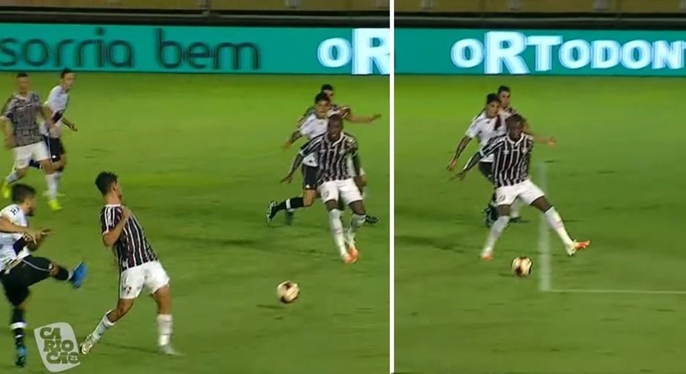 Frazan estava bem posicionado e poderia ter evitado gol de Cano — Foto: Reprodução / PPV do Carioca