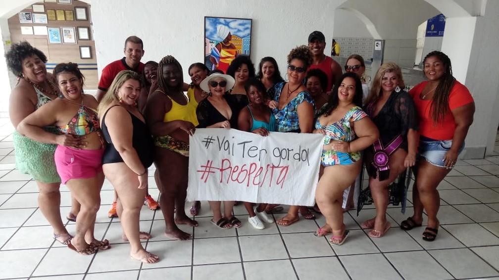 Objetivo da ação é chamar atenção para o direito das mulheres gordas ocuparem espaços públicos. Grupo existe há três anos , em 2016. — Foto: Arquivo Pessoal