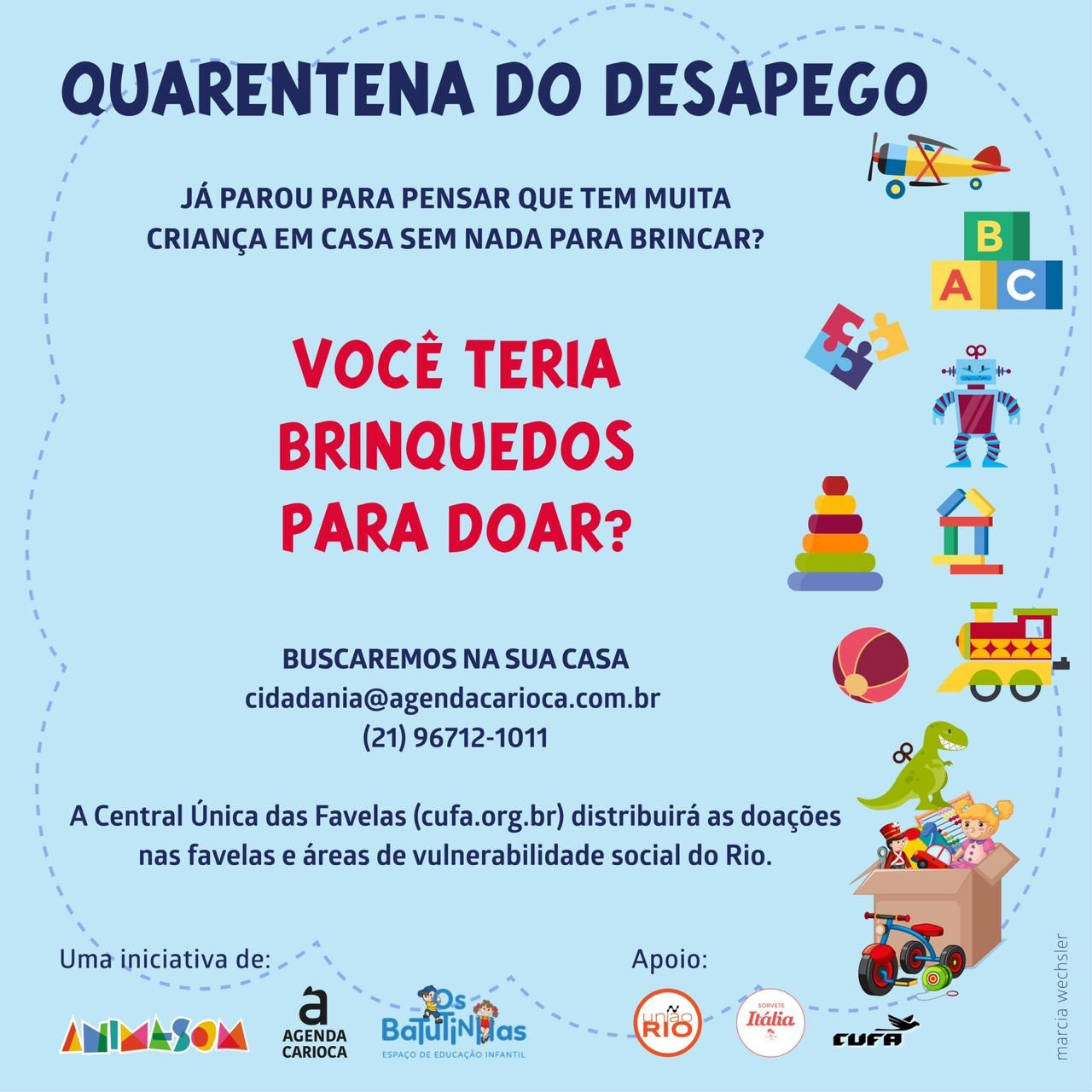 Empresas e ONGs arrecadam brinquedos para crianças carentes do RJ durante isolamento social