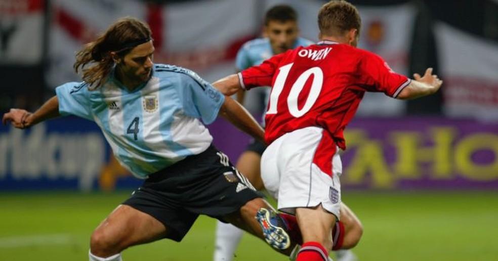 Pochettino nos tempos de jogador, na Copa do Mundo de 2002 — Foto: Getty Images