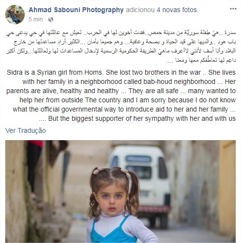 Fotógrafo Ahmad Sabouni desmente boato sobre menina síria