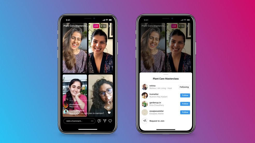Salas Ao Vivo: Instagram permite lives com até quatro pessoas em nova atualização — Foto: Divulgação/Instagram