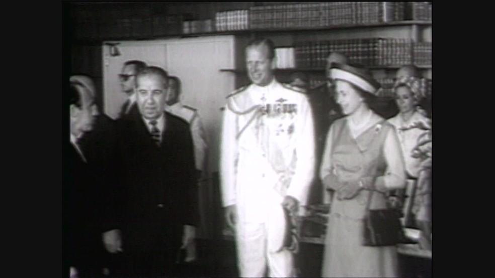 O Hotel Nacional de Brasília recebeu a rainha Elizabeth II, da Inglaterra, e o príncipe Philip em novembro de 1968 — Foto: TV Globo/Reprodução