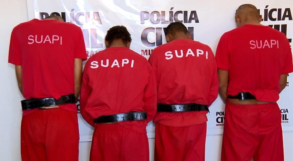 Suspeitos de estupro coletivo são apresentados pela polícia em MG (Foto: Reprodução EPTV)