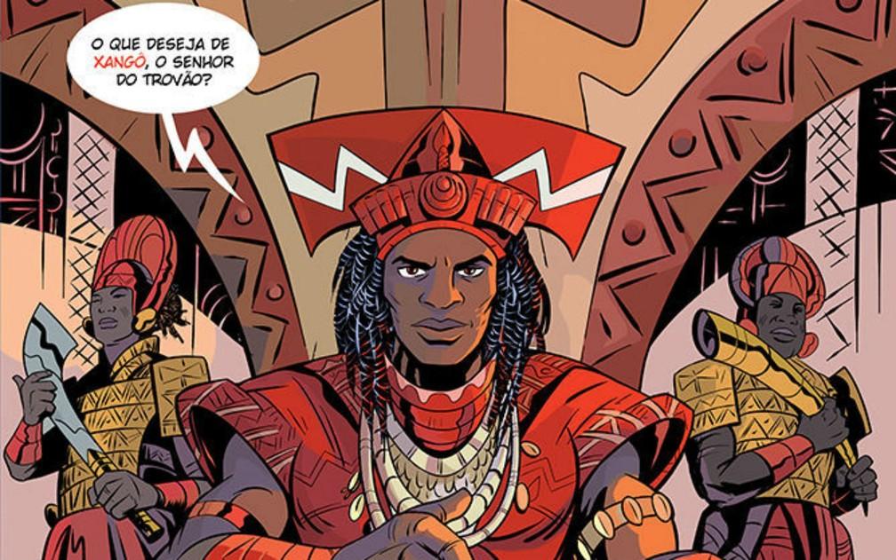 Entre os protagonistas das HQs, por exemplo, está o Rei Xangô, o senhor do trovão — Foto: Hugo Canuto/Reprodução