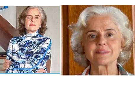 Marieta Severo apareceu com os cabelos brancos neste fim de semana, ao falar sobre a vacinação contra Covid Reprodução
