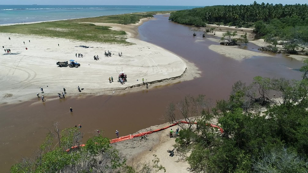 Estuário do Rio Mamucabas foi afetado por óleo que vem do mar — Foto: Reprodução/TV Globo