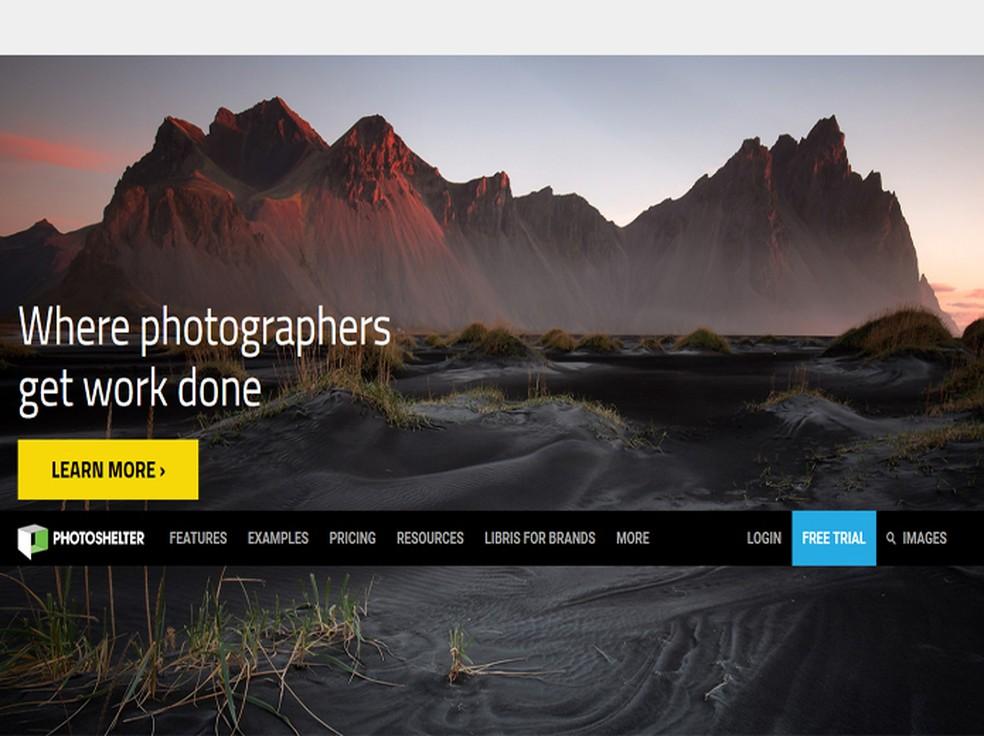 Photo Shelter permite que o usuário vendas fotos a partir do seu próprio site criado na plataforma — Foto: Reprodução / Photo Shelter