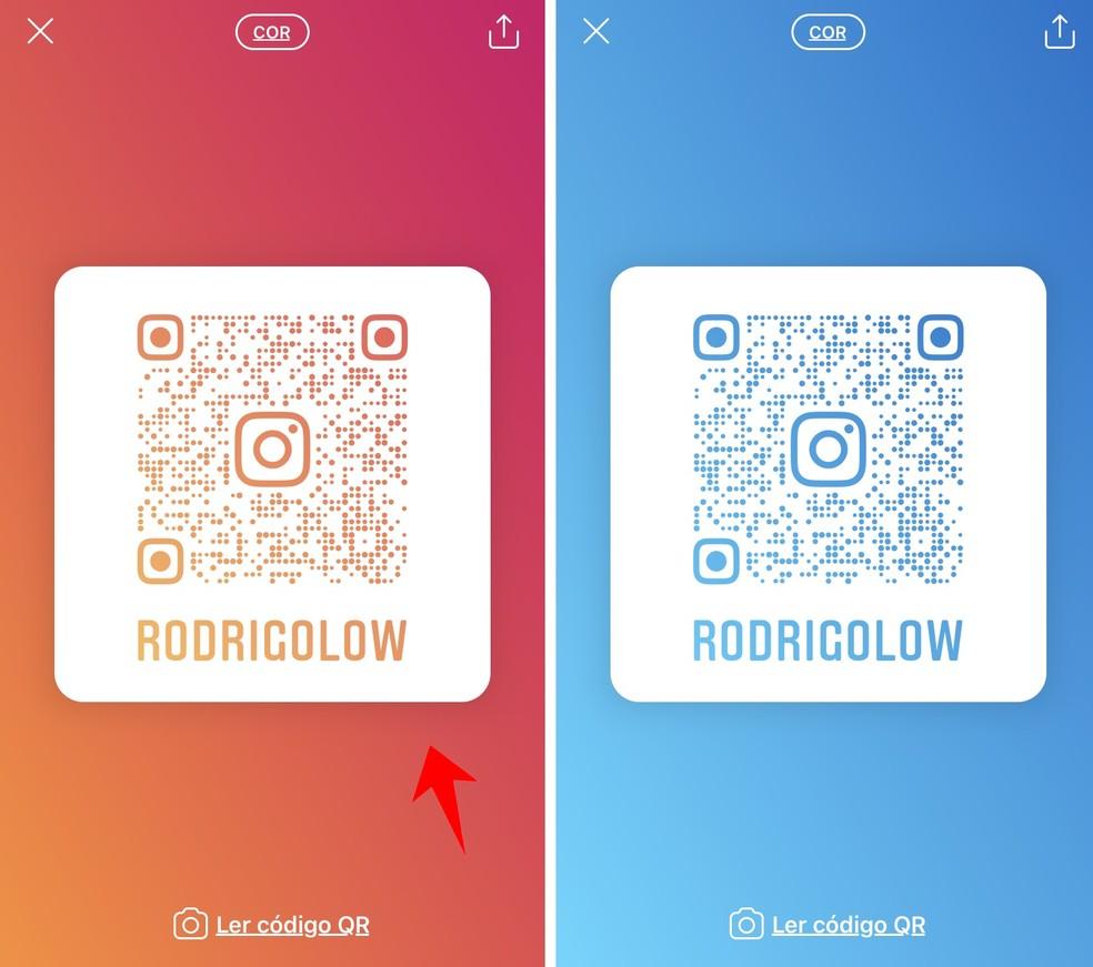QR Code pode receber planos de fundo com cores diferentes — Foto: Reprodução/Rodrigo Fernandes