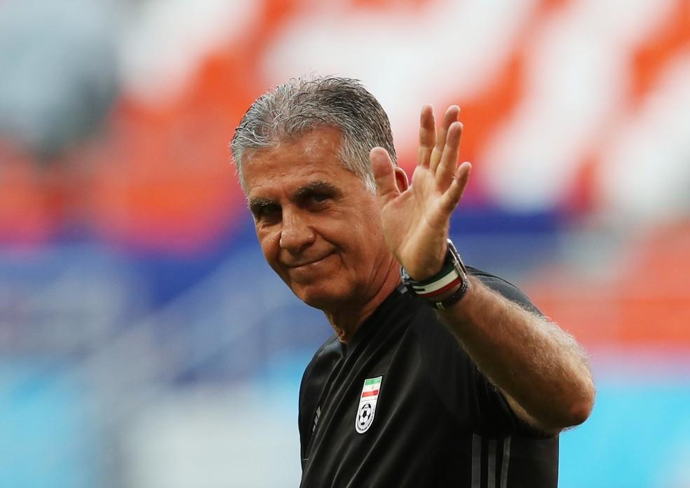 O português Carlos Queiroz, técnico do Irã, no treino da seleção em Saransk (Foto: Ricardo Moraes/Reuters)