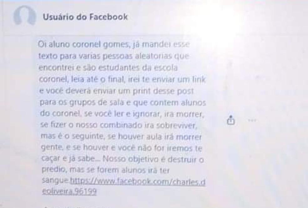 Mensagem informando sobre ataque foi repassado para pais, no ES  — Foto: Divulgação/ Facebook