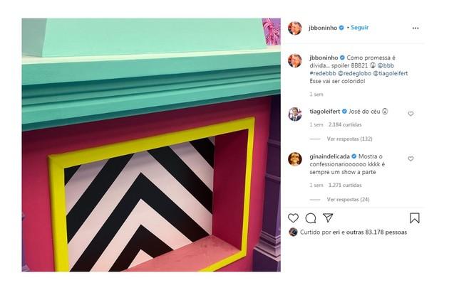Um dos spoilers dado por Boninho no Instagram foi que os quartos do programa serão coloridos (Foto: Reprodução)