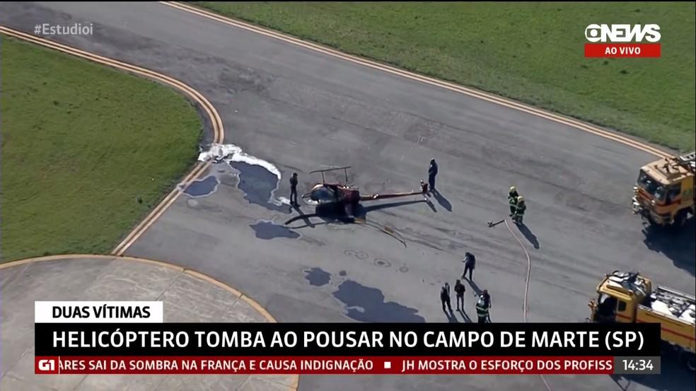 Helicóptero em aeroporto de SP — Foto: Reprodução/GloboNews