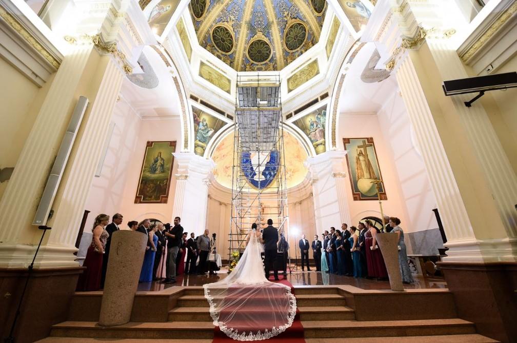 Fotos mostram andaime de 10 metros em igreja de Sorocaba — Foto: Arquivo Pessoal
