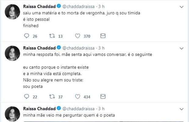 Post de Raissa Chaddad (Foto: Reprodução/Twitter)