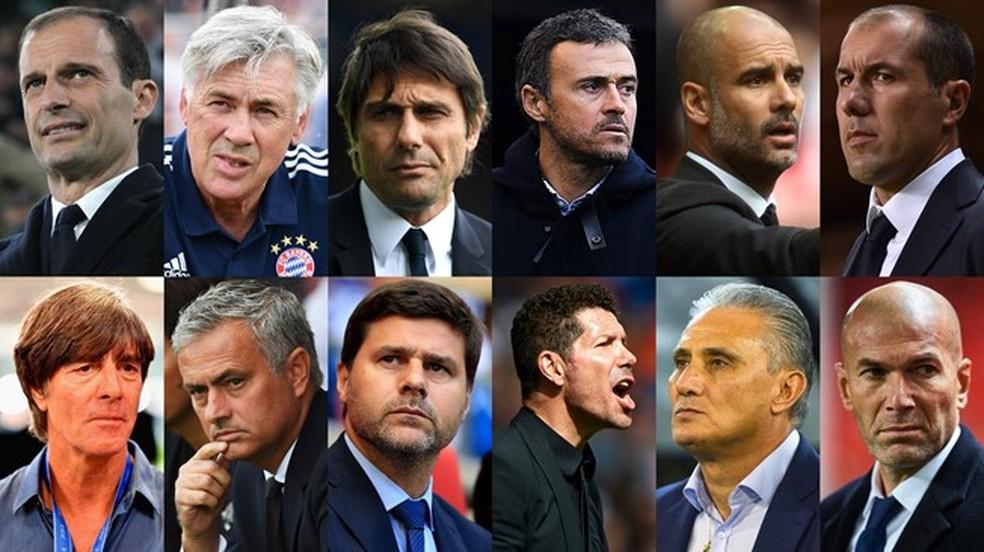 Allegri, Ancelotti, Conte, Luis Enrique, Guardiola, Jardim, Low, Mourinho, Pochettino, Simeone, Tite e Zidane: os 12 técnicos finalistas (Foto: Divulgação / Fifa)