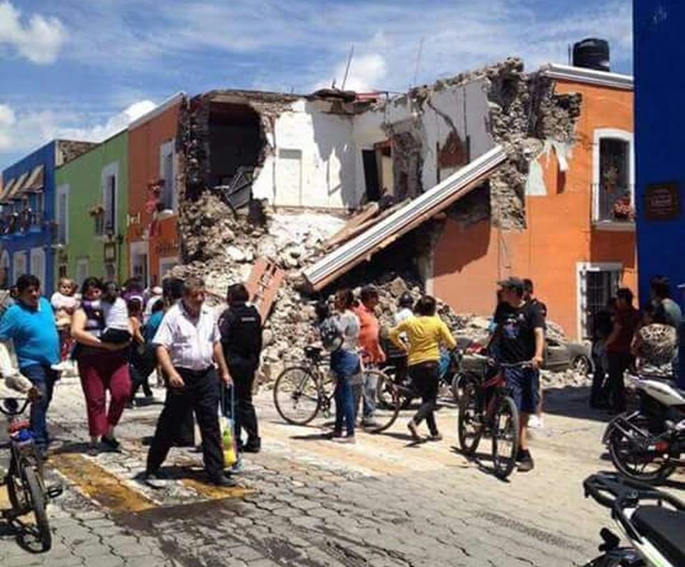 Prédios desabados em Cholula, no estado de Puebla (Foto: Brian Guzman/Arquivo pessoal)