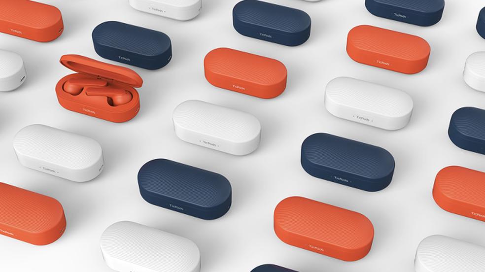 TicPods Free vem com estojo carregador e em três cores diferentes (Foto: Reprodução/Indiegogo)
