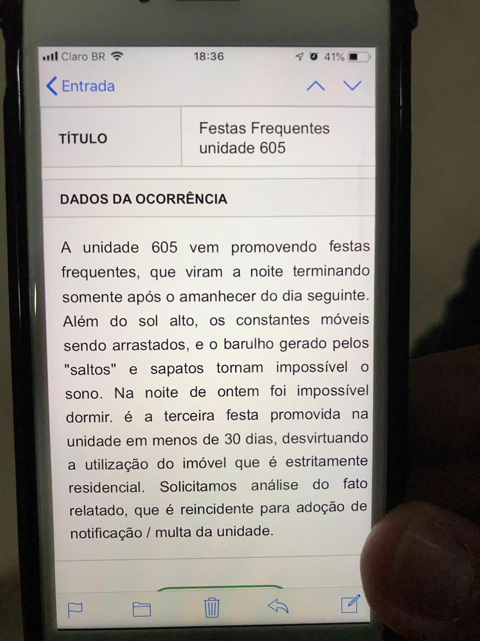 Vizinhos fizeram reclamação no site do condomínio, na região do Noroeste, em Brasília — Foto: Afonso Ferreira