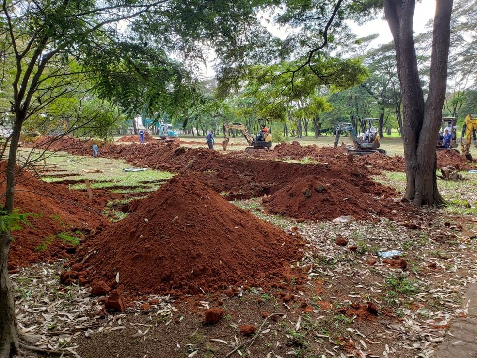 Sepulturas abertas nesta sábado (18) no cemitério da Vila Formosa, Zona Leste de São Paulo. — Foto: Divulgação/Sindsep
