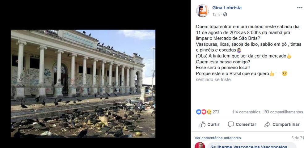 -  Gina Lobrista motiva limpeza do Mercado de São Bras em situação de abandono em Belém  Foto: Reprodução Facebook