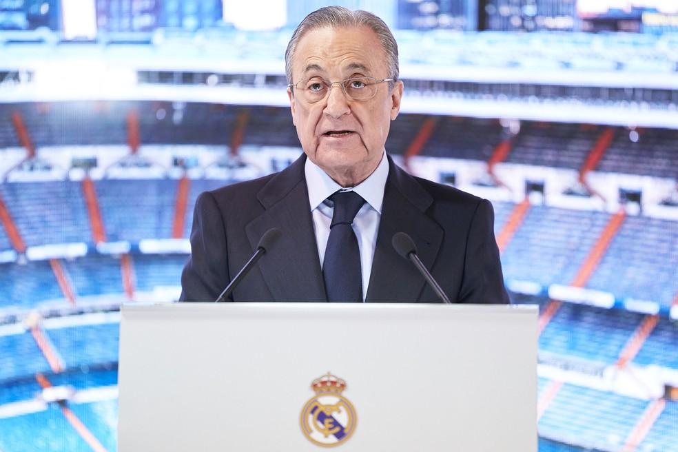 Florentino Pérez, presidente do Real Madrid, foi escolhido como o primeiro presidente da Superliga — Foto: Getty Images