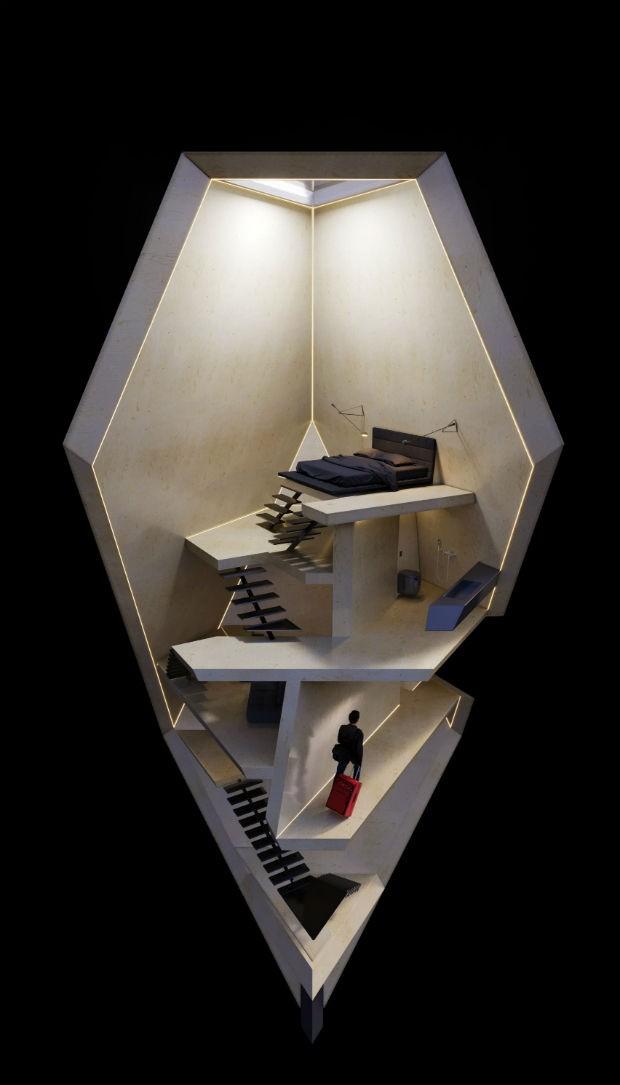 Hotel-cápsula promete chegar a locais remotos e será feito com carbono neutro (Foto: Divulgação)