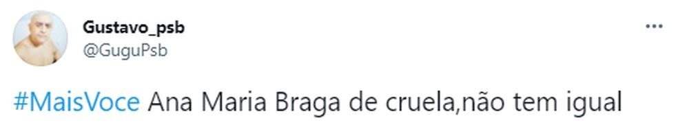 Nas redes sociais, o público adora a versão Cruella de Ana Maria Braga — Foto: reprodução/tweeter