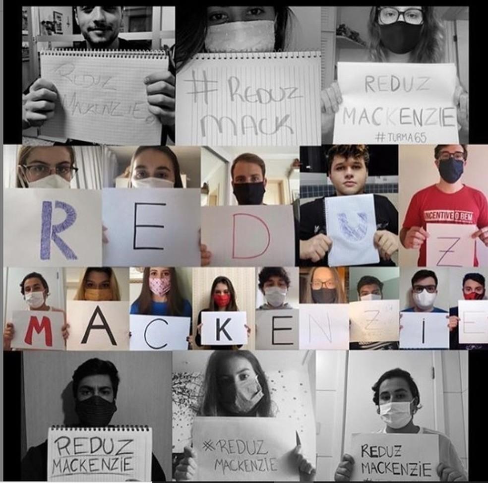 Alunos do Mackenzie fazem campanha pela redução do valor da mensalidade. — Foto: Divulgação