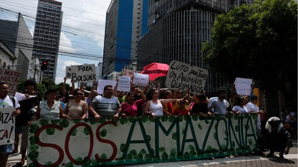 Protesto em defesa da Amazônia em Manaus, em agosto deste ano — Foto: Alberto César Araújo