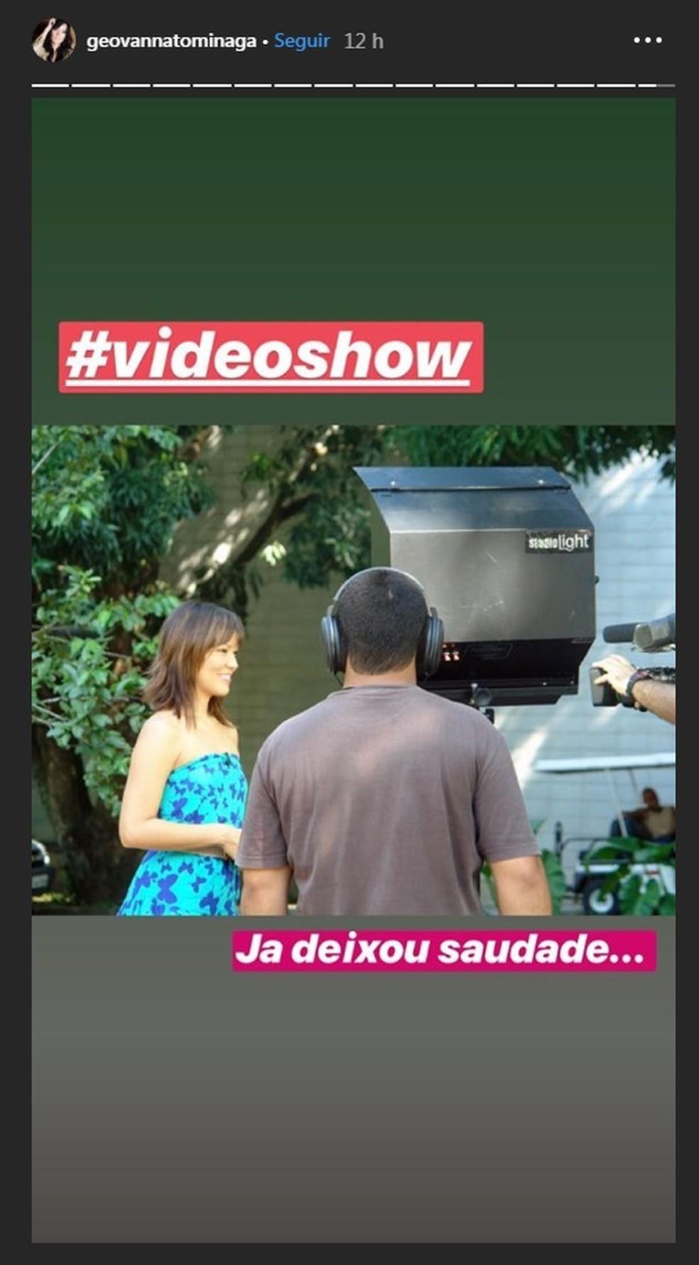 """Geovanna Tominaga lamenta fim do """"Video Show"""" — Foto: Reprodução/Instagram"""