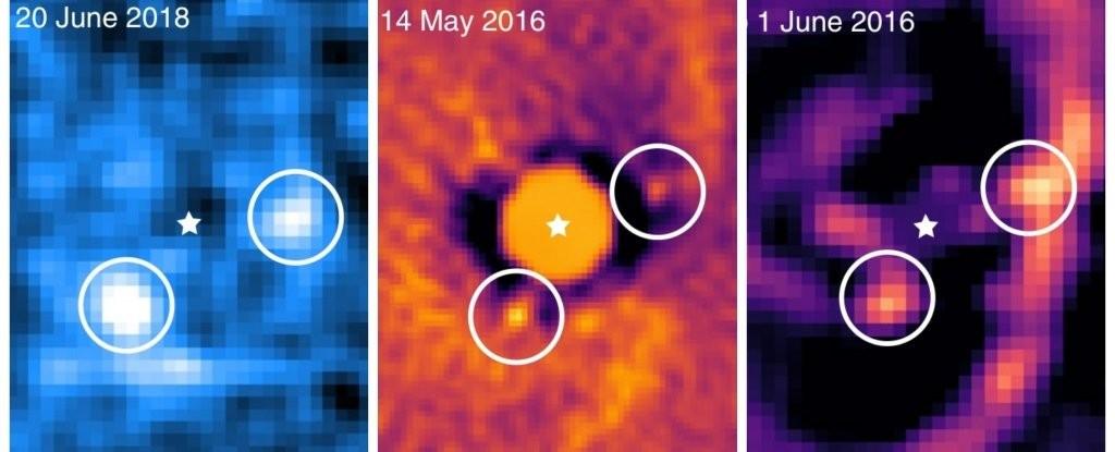 Imagens mostram o nascimento de dois planetas que ficam fora do nosso Sistema Solar.  (Foto: Haffert et al., Nature Astronomy, 2019)
