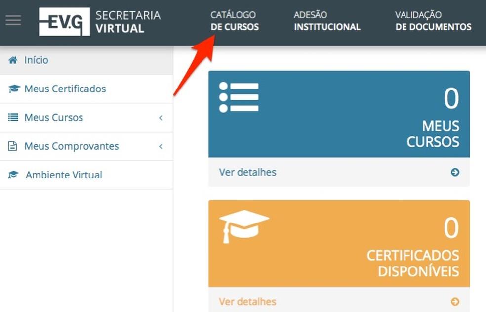 Página inicial de usuário do site Escola Virtual do Governo Federal — Foto: Reprodução/Marvin Costa