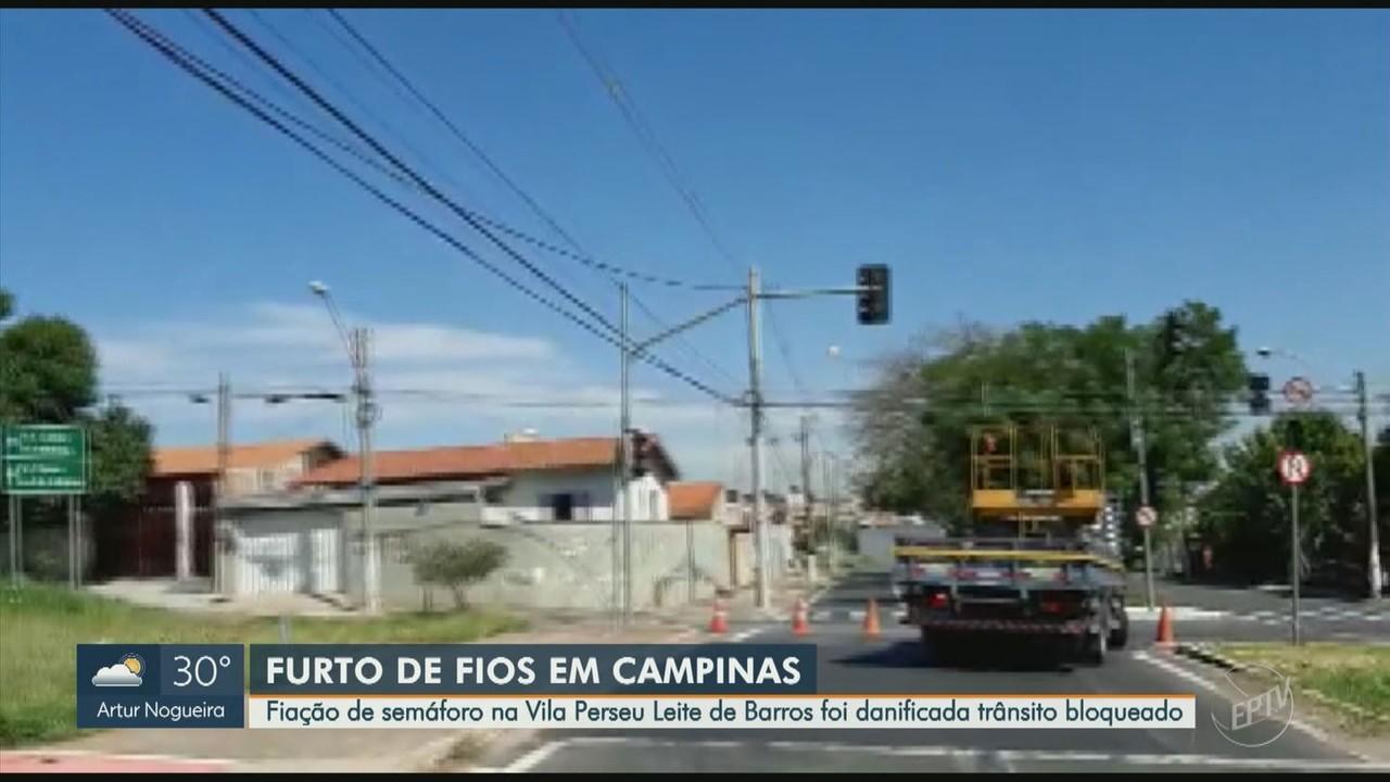 Fiação de semáforo é furtada e trânsito é bloqueado em cruzamento de Campinas