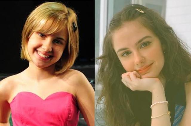 Clara Tiezzi em 'Ti-ti-ti' e atualmente  (Foto: TV Globo - Arquivo pessoal)