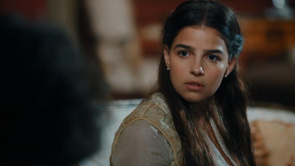 Em 'Nos Tempos do Imperador', Pilar (Gabriela Medvedovski) ficará chocada ao saber da verdadeira identidade de Jorge/Samuel — Foto: Globo