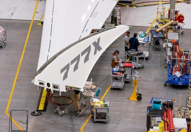 Em setembro, a companhia divulgou a primeira imagem das pontas das asas dobráveis.  (Foto: Divulgação/Boeing)