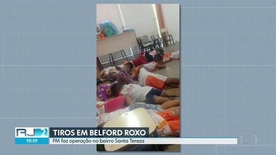 Crianças em creche de Belford Roxo deitam no chão para se proteger de tiroteio