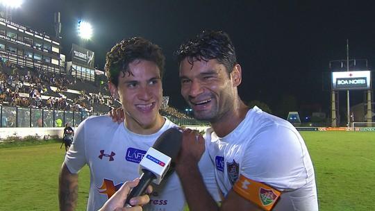 """Gum diz que não comemorou empate e brinca com Pedro: """"Ficou devendo um gol"""""""